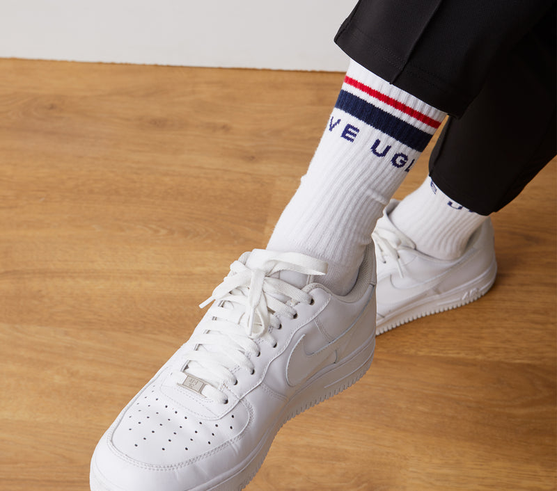 Double Stripe Athletic Sock - White