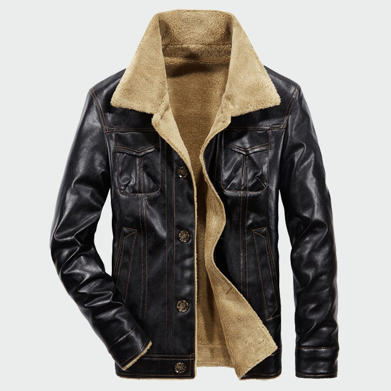 Men s Leather Jackets Winter Fleece PU Coats Casual Plus Thick Warm  Wide-Collared Outerwear Biker ... 33eedb92185