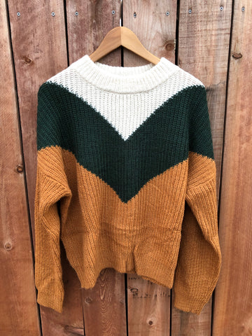 Brie Knitted sweater (Cream/H.Green/Mustard)