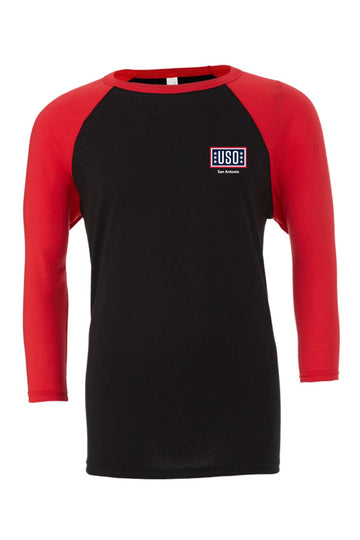 USO SAN ANTONIO UNISEX 3/4 SLEEVE BASEBALL TEE-BLACK/RED