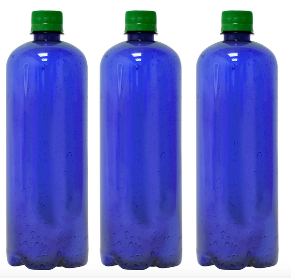 Custom Premium Purified Water 33.3oz (1L) | 12 Pack Case | Blue Boston Green Cap