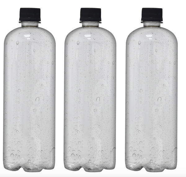 Custom Premium Purified Water 33.3oz (1L) | 12 Pack Case | Clear Boston Black Cap