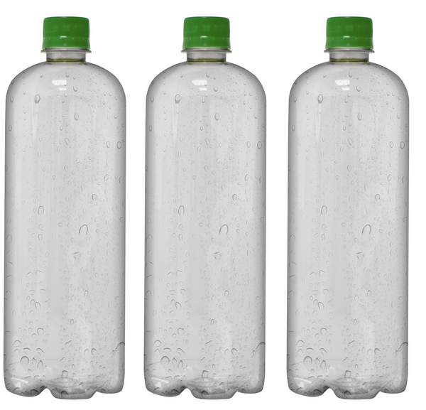 Custom Premium Purified Water 33.3oz (1L) | 12 Pack Case | Clear Boston Green Cap