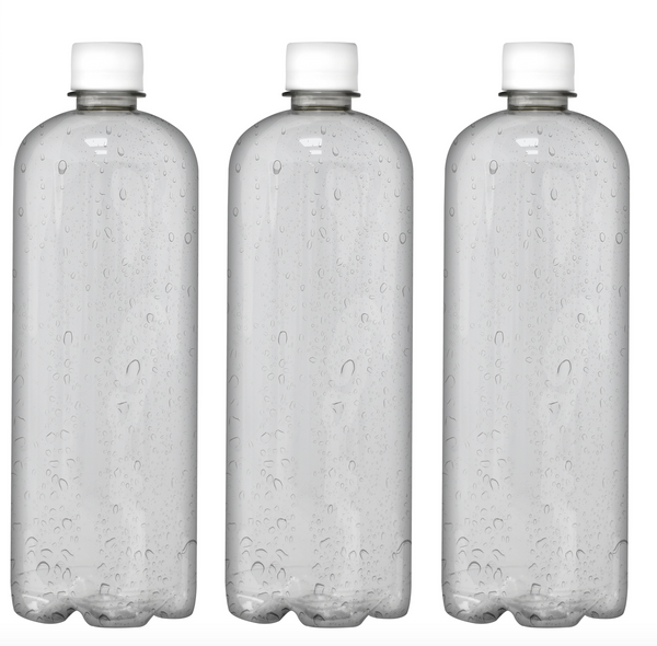 Custom Premium Purified Water 33.3oz (1L) | 12 Pack Case | Clear Boston White Cap
