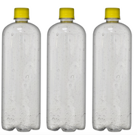 Custom Premium Purified Water 33.3oz (1L) | 12 Pack Case | Clear Boston Yellow Cap