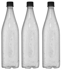 Custom Premium Sparkling Water 33.3oz (1L) | 12 Pack Case | Clear Drop Black Cap