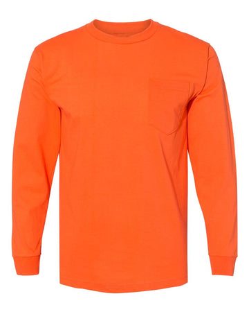 Crew Shirt Heavyweight Pocket Long Sleeve | Orange | Made In USA