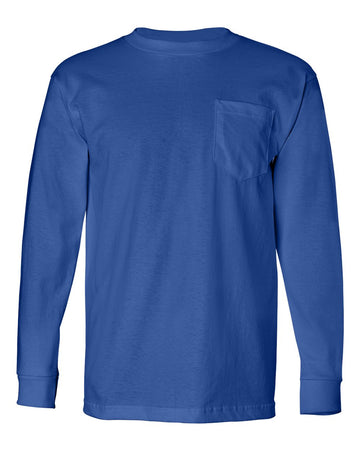 Crew Shirt Heavyweight Pocket Long Sleeve | Royal Blue | Made In USA