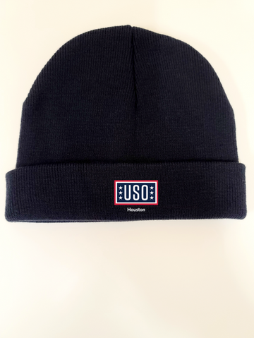"USO HOUSTON MADE IN USA 8"" BEANIE-NAVY"