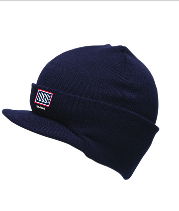 USO SAN ANTONIO MADE IN USA BEANIE WITH VISOR-NAVY