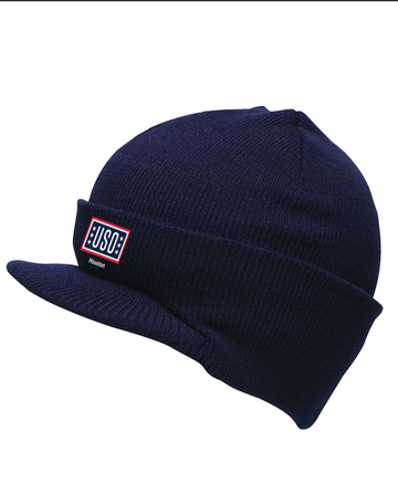 USO HOUSTON MADE IN USA BEANIE WITH VISOR-NAVY