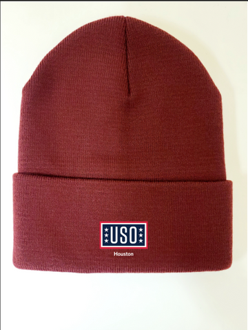 "USO HOUSTON MADE IN USA 12"" KNIT CUFF BEANIE-BURGUNDY"