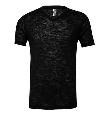 UNISEX JERSEY SHORT SLEEVE V-NECK TEE - Solid Black Slub