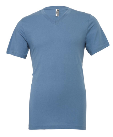 UNISEX JERSEY SHORT SLEEVE V-NECK TEE - Steel Blue