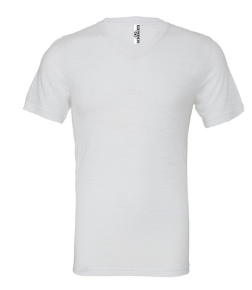 UNISEX JERSEY SHORT SLEEVE V-NECK TEE - White Slub