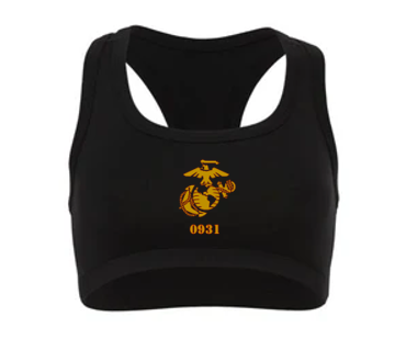 0931 Combat Marksmanship Trainer Course 2021 - WOMEN'S NYLON SPANDEX SPORTS BRA-BLACK