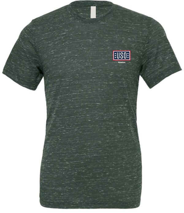 USO HOUSTON UNISEX POLY-COTTON SHORT SLEEVE TEE-FOREST MARBLE