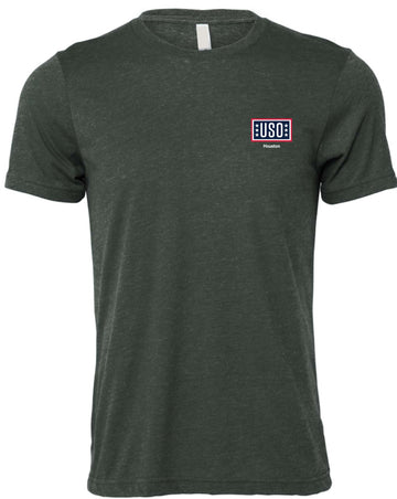 USO HOUSTON UNISEX SUEDED TEE HEATHER FOREST