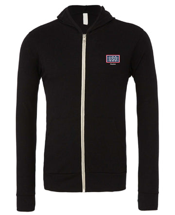 USO HOUSTON UNISEX TRIBLEND FULL-ZIP LIGHTWEIGHT HOODIE-BLACK