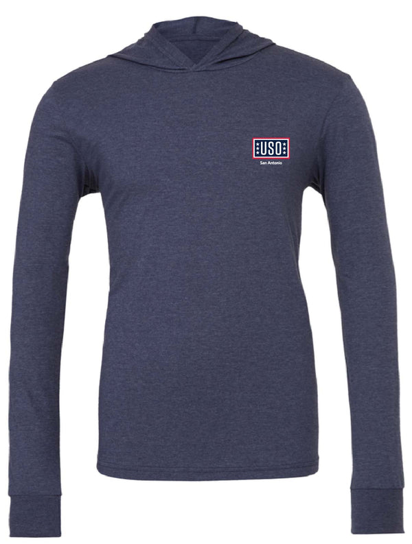 USO SAN ANTONIO UNISEX JERSEY LONG SLEEVE HOODIE-HEATHER NAVY