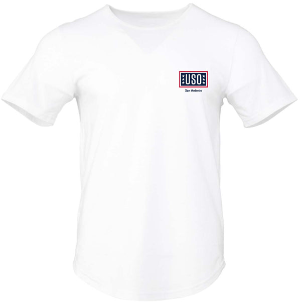 USO SAN ANTONIO MENS JERSEY SHORT SLEEVE TEE WITH CURVED HEM-WHITE