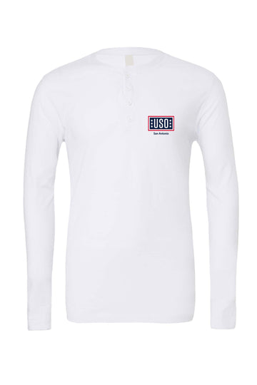 USO SAN ANTONIO MEN'S JERSEY LONG SLEEVE HENLEY WHITE