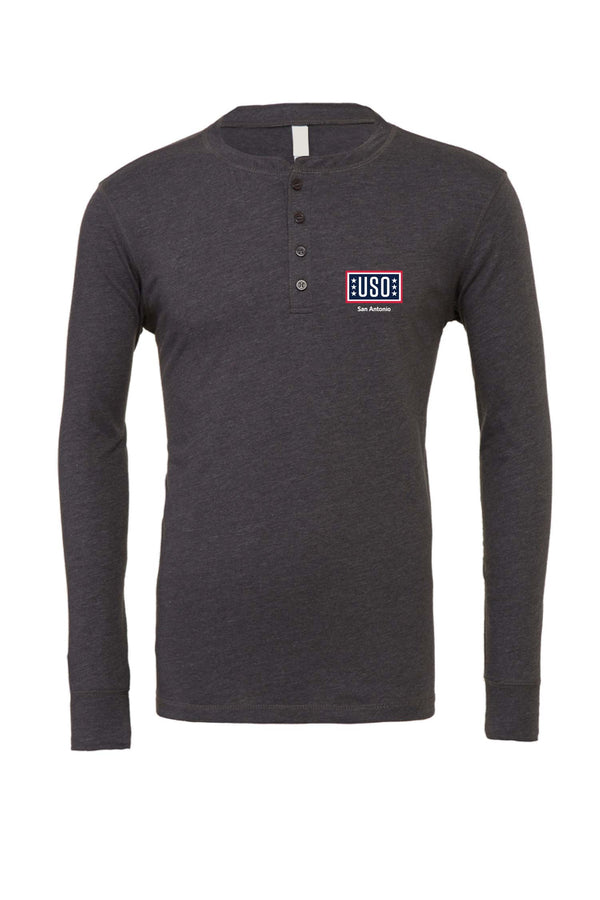 USO SAN ANTONIO MEN'S JERSEY LONG SLEEVE HENLEY GREY