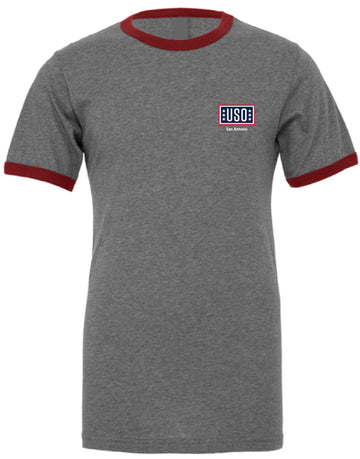 USO SAN ANTONIO MEN'S JERSEY SHORT SLEEVE RINGER TEE-HEATHER/CARDINAL