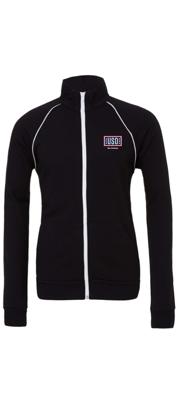 USO SAN ANTONIO MEN'S PIPED FLEECE JACKET-BLACK/WHITE