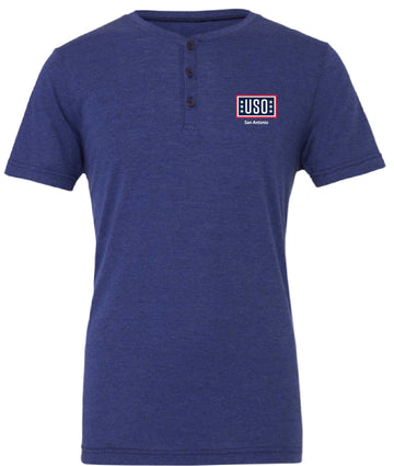 USO SAN ANTONIO MEN'S TRIBLEND SHORT SLEEVE HENLEY-NAVY