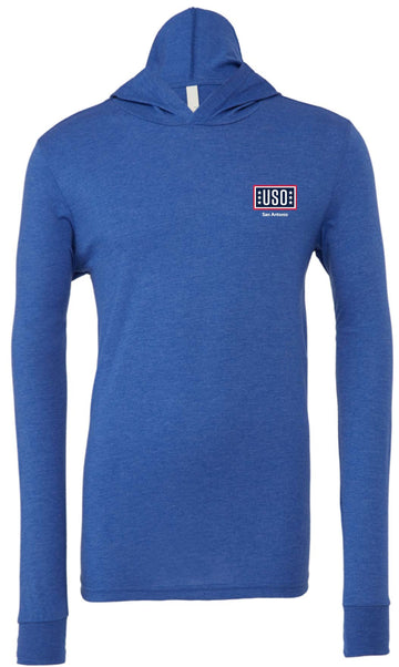 USO SAN ANTONIO UNISEX JERSEY LONG SLEEVE HOODIE-HEATHER TRUE ROYAL