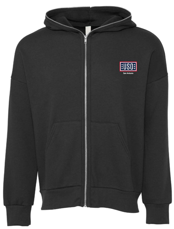 USO SAN ANTONIO UNISEX TOTAL ZIP HOODIE-DARK GREY