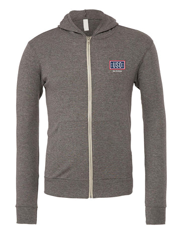 USO SAN ANTONIO UNISEX TRIBLEND FULL-ZIP LIGHTWEIGHT-GREY TRIBLEND