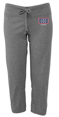 USO SAN ANTONIO WOMEN'S CAPRI SCRUNCH PANT DEEP HEATHER GREY