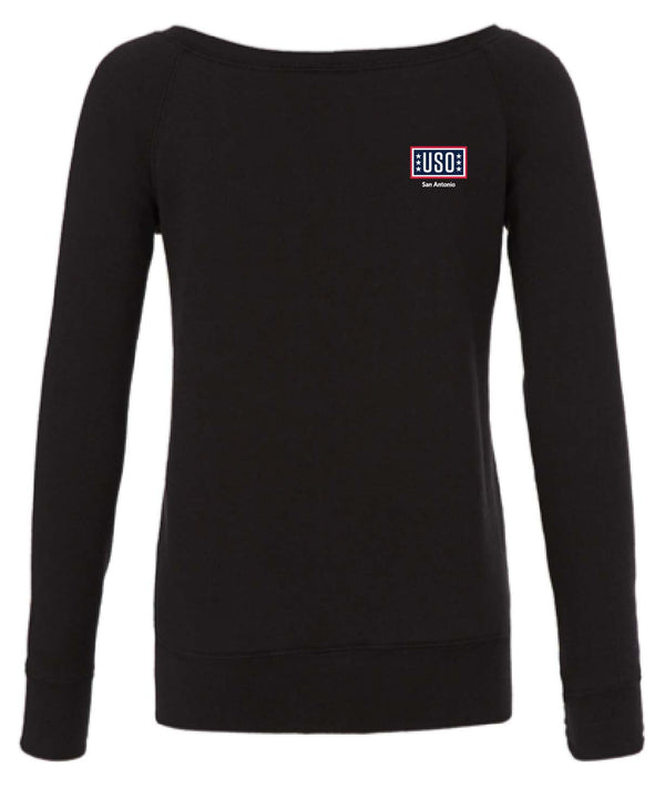 USO SAN ANTONIO WOMEN'S SPONGE FLEECE WIDE NECK SWEATSHIRT BLACK