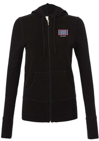 USO SAN ANTONIO WOMEN'S STRETCH FRENCH TERRY LOUNGE JACKET-MIDNIGHT