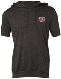 USO SAN ANTONIO MEN'S JERSEY SHORT SLEEVE HOODIE-DARK GREY HEATHER