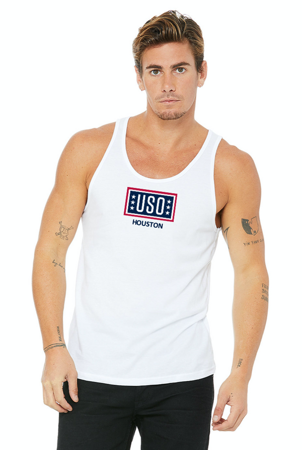 USO Houston Unisex Jersey Tank Top - White