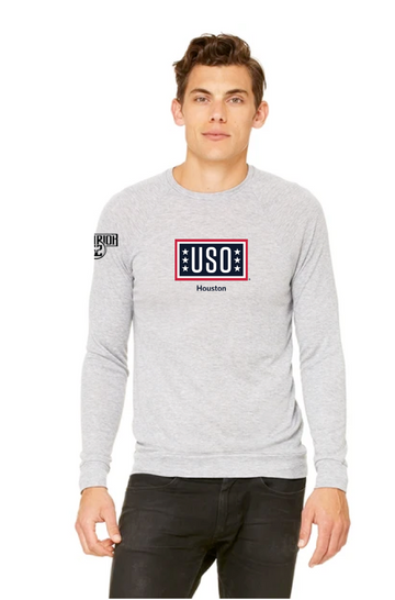 USO HOUSTON | UNISEX LIGHTWEIGHT SWEATER-ATHLETIC HEATHER