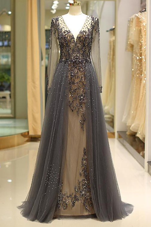Gorgeous Sheer Long Sleeves Beaded Prom Dress