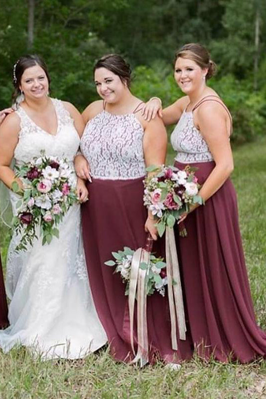 Plus Size Straps Burgundy Long Bridesmaid Dress with Lace