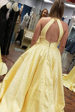 Elegant Halter Beaded Hollow Out Yellow Prom Dress