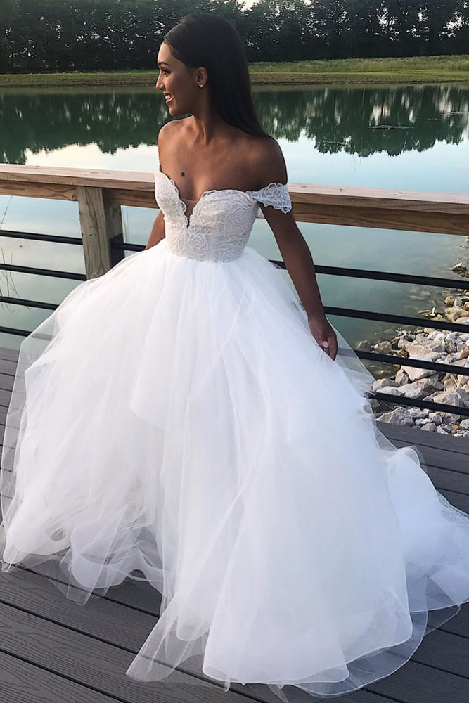 Princess Long A-line Off Shoulder White Bridal Gown with Lace Top