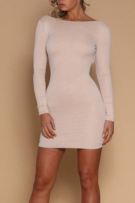 Long Sleeves Sheath Backless Mini Party Dress