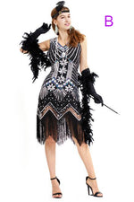 Sheath Sequined Black and Silver Party Dress with Tassel