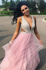 Hollow Out Ruffles Pink Prom Dress with Beading Top