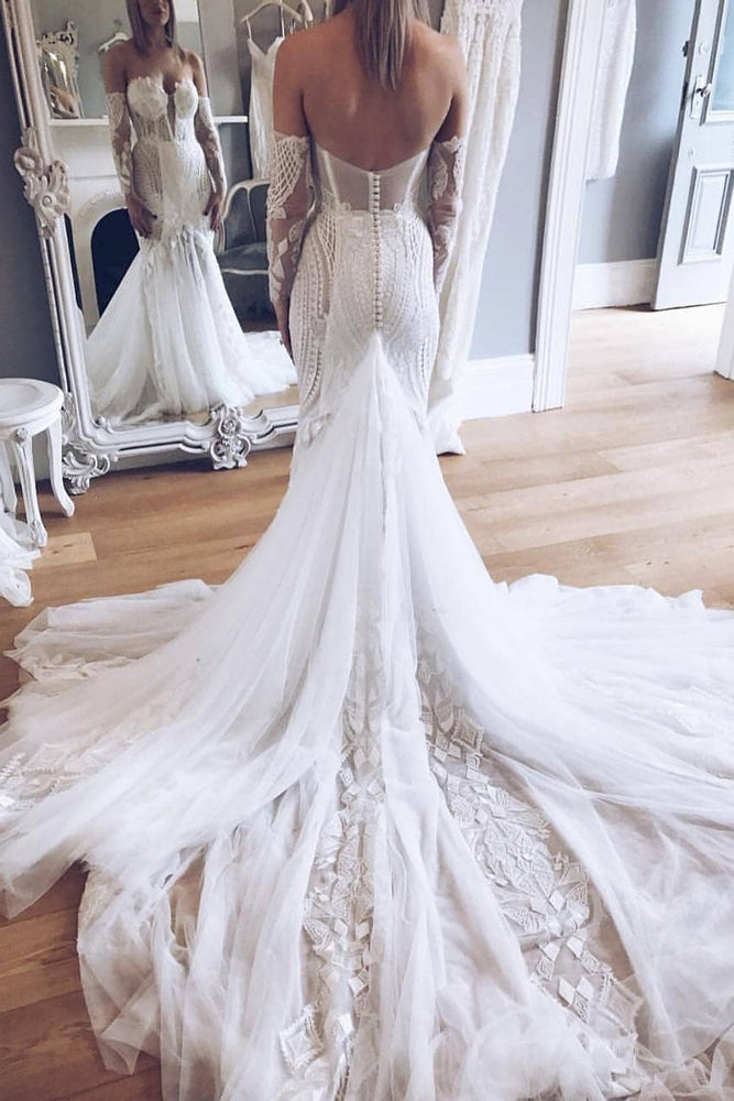 Long Strapless Chapel Train Mermaid White Wedding Dress