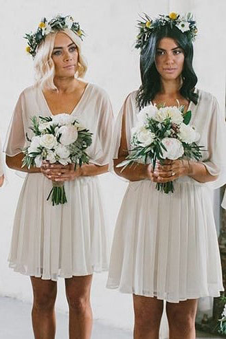 V-Neck Ivory Chiffon Short Bridesmaid Dress