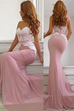 Mermaid Spaghetti Straps Long Pink Bridesmaid Dress with Lace