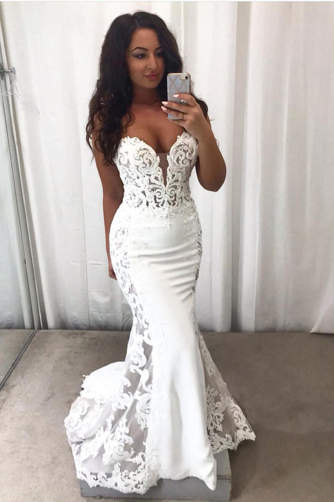 Long Sweetheart Mermaid White Wedding Dress with Lace